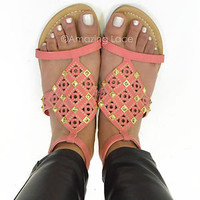 Coral Sandal Studded Pretty Pink Summer Shoe Open Faux Leather Womens Fashion