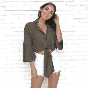 Tied To Your Ways Olive Top
