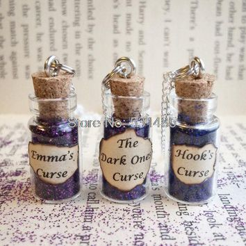 12pcs/lot The Dark Ones' Curse , Hook's , Emma's  Bottle Necklace  Pendant    inspired by Once Upon A Time