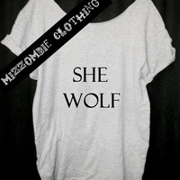 SHE  WOLF   Tshirt, Off The Shoulder, Over sized, street style ,  loose fitting, women, teens, grunge, gypsy