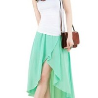 Allegra K Women Elastic Waist Asymmetrical High Low Chiffon Summer Skirts