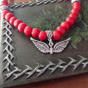 Red beaded angel necklace
