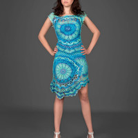 Cyan blue exclusive crochet two-piece dress (top&skirt)