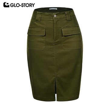 GLO-STORY Fashion Summer Women Denim Pencil Split Skirt High Waist Sexy Work Wear Ladies Skirts WQZ-1803