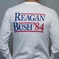 Reagan Bush '84 Long Sleeve Tee in White by Rowdy Gentleman