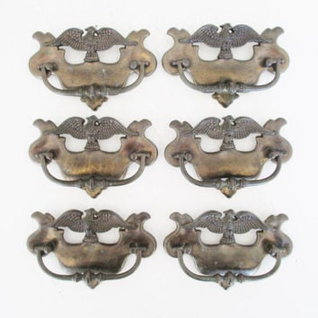 Eagle Chippendale Drawer Handles 6 Antique Drawer Handles Brass Handles with a Federal Eagle Dresser Hardware Salvaged Hardware Drawer Pulls