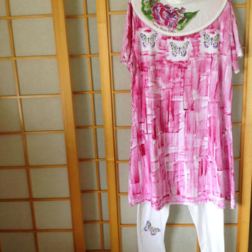 Hand Painted Sun Dress - Plus Sizes - Hand Painted Dress - Cotton Beach Dress , Kauai, Hawaii Pink Dress Hot Pink Dress