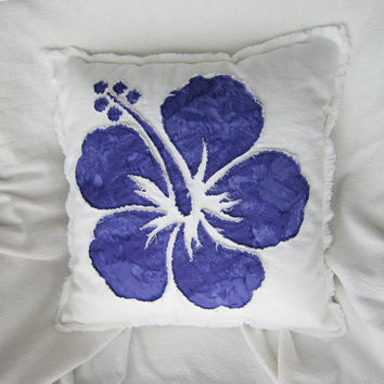 Hibiscus flower pillow cover in grape purple tie dye batik and bleached white distressed denim boho pillow cover 18""