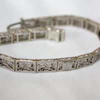 Victorian  14kt Gold Diamond Bracelet Filigree Edwardian 1900s Jewelry