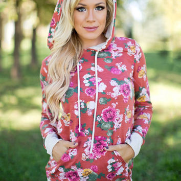 Red Flower Printed Hooded Sweater