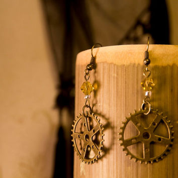 Antique bronze gear dangle earrings