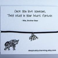 Love Brother Bear Friendship Wish Bracelet with Tibetan Silver Bear Charm on Quote Greetings Card