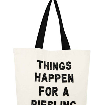 Canvas Beach Tote- Things Happen For A Riesling