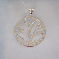 925 Sterling Silver BIG TREE of LIFE pendant and sterling silver necklace chain, organic, nature, woodland jewelry