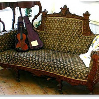 Antique 19c Victorian Rosewood Sofa Marquerty by EarlyRiverGallery