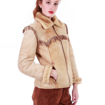 70s Shearling Sheepskin Jacket New Zealand Butter Soft Sherpa Fringe Boho Retro Winter Coat Warm Clothing Women Size Small