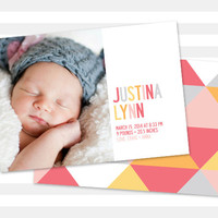 Baby Girl Birth Announcement, Baby Announcement, (Double Sided Baby Announcement - Caroline)