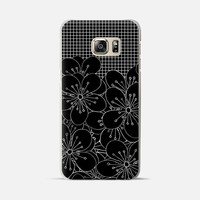 Cherry Blossom Grid Black Galaxy S6 Edge+ case by Project M | Casetify