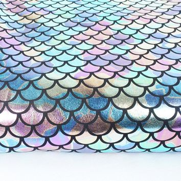 "Iridescent Sparkly Scale Mermaid Fabric Hologram Spandex 2 Way Stretchy fabric for skirt tail swimwear - 60"" Wide by Yard"