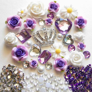 Sale -- DIY 3D Crown Purple Flowers Kawaii Resin Flatback Decoden Cabochons Deco Kit