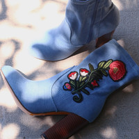 Floral Denim Chunky Heeled Ankle Boots | UrbanOG