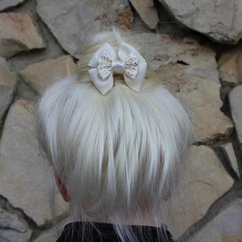 rapunzel wedding mini hair bow