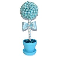 Blue Lollipop Baby Shower Topiary, Its a Boy Centerpiece, Baby Boy, Baby Shower Centerpiece, Boy Baby, Blue Baby Shower, Candy Centerpiece