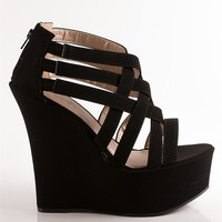 Criss Cross Wedge Sandals - Black from Sandals at Lucky 21