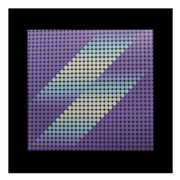 Pre-owned Signed Purple and Black Contemporary Op Art Print