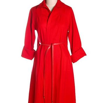 Vintage Red Wool Lightweight Coat Ladies Unique Belting 1950s