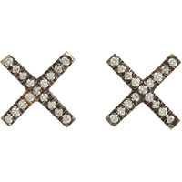 Eva Fehren Diamond & Blackened Gold 'X' Stud Earrings at Barneys.com