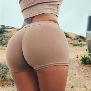 Tight Solid Color Stretch Sport Shorts