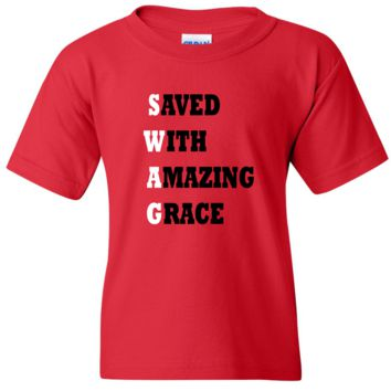 """TurnTo Designs - """"Save With Amazing Grace"""" Vinyl Red T-Shirt"""