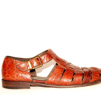 90s Fisherman Sandals, Mens 8 M Womens 9.5 BRAGANO by COLE HAAN Brown Crocodile Shoes, Leather Sandals, Made in Italy, Spring Summer Shoes