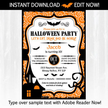 Halloween Invitations - DIY Instantly Downloadable and EDITABLE File!! Personalize with Adobe Reader Now! Halloween Party
