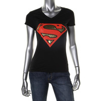 Superman Womens Cotton Metallic T-Shirt