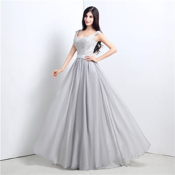 Light Grey Sleeveless A-Line Prom Dresses