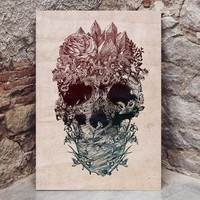Flower Skull Wood Print, Floral Skull Art Print, Wood Home Decor