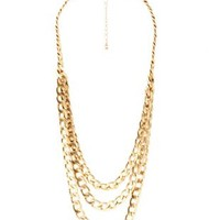 Gold Triple Chain Statement Necklace by Charlotte Russe