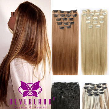 "24"" Hair Extensions 60cm 7pcs/set Natural Hairpieces Hair Piece Straight Synthetic Clip In Hair Extentions Cheveux Extension B50"