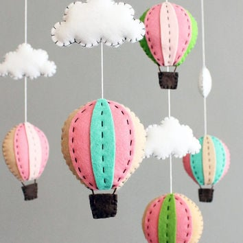 diy baby mobile kit - make your own hot air balloon cot crib mobile, pink green turquiose