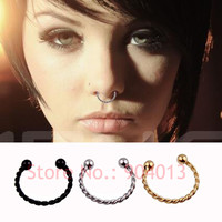 1 Pieces Gold Silver Black Surgical Steel Titanium  Fake Nose Ring Fake septum rings Piercing Body Jewelry Twisted Nose Hoop