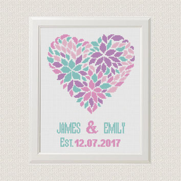 Cross Stitch Personalized PDF Printable Pattern, Married Heart Floral Love, Flower Modern Wedding Gift, Mr & Mrs Printable Embroidery