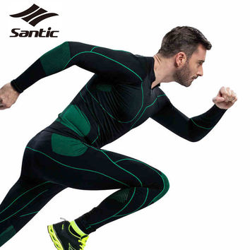 Santic Men`s Sport Riding Thermal Underwear High Elasticity Cycling Jersey Clothing Set GYM MMA Running Training Fitness Apparel