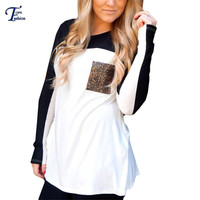 Color Block Black Contrast White Tees Women Spring Designer Tops With Sequined Pocket Round Neck Long Sleeve T-shirt