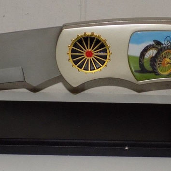 Large Decorative Tractor Farm Scene Pocket Knife With Stand Folding Knife