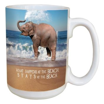 Stays At The Beach Elephant Mug - Large 15 oz Ceramic Coffee Mug