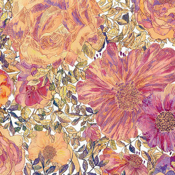Liberty Tana Lawn Fabric - Liberty Japan - Alice Rose Xanthe, Colorful Flower - Liberty Print  Cotton Scrap, Quilting Patchwork - NT15SS42