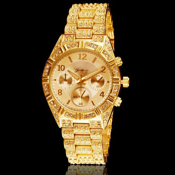 Men Women Fashion Luxury Gold Diamond Bling Crystal Geneva Watch = 1956378308