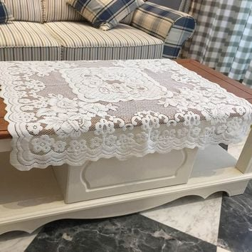 Tablecloths 100% Polyester, Machine Washable Tablecloth White Floral Lace Square Tablecloth (Size: 80cm by 80cm, Color: White)